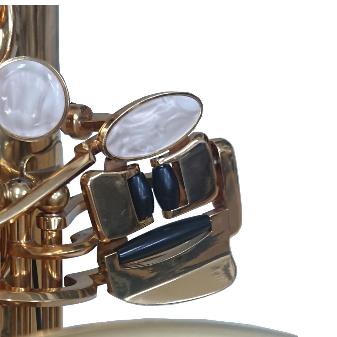 左手小指の操作を楽にするC♯-B♭連動キイシステムが付いています。初心者にも扱いやすい楽器になっています